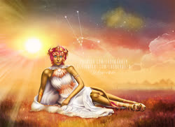 Size: 900x654 | Tagged: safe, artist:ladykraken, sunset shimmer, equestria girls, astrology, clothes, constellation, daydream shimmer, dress, solo, stars, sun, sunshine shimmer, taurus