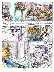 Size: 2417x3232 | Tagged: safe, artist:40kponyguy, derpibooru exclusive, twilight sparkle, alicorn, 40kponyguy's the staff of aurelian, ahzek ahriman, armor, comic, crossover, power armor, traditional art, twilight sparkle (alicorn), tzeentch, warhammer (game), warhammer 40k
