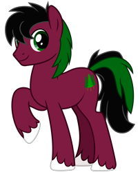 Size: 2600x3200 | Tagged: safe, artist:cheezedoodle96, oc, oc only, oc:red cedar, earth pony, pony, 2020 community collab, derpibooru community collaboration, .svg available, looking at you, male, raised hoof, simple background, smiling, solo, stallion, svg, transparent background, vector