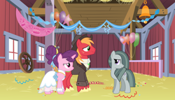 Size: 2064x1182 | Tagged: safe, big macintosh, marble pie, sugar belle, pony, the big mac question, spoiler:s09e23, acceptance, aftermath, approval, barn, best wishes, better as friends, bittersweet, clothes, congratulations, dress, epilogue, female, friends, friendship, friendshipping, good end, hat, headcanon, hope, husband and wife, i want my beloved to be happy, i wish you love, just friends, looking at each other, lyrics in the description, male, married couple, moving on, party, ship sinking, shipping, shirt, smiling, song reference, straight, sugarmac, suit, thanks, vest, wedding dress, youtube link, youtube link in the description