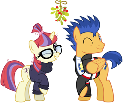 Size: 2092x1768   Tagged: safe, artist:chainchomp2 edit, artist:jhayarr23, edit, flash sentry, moondancer, pony, christmas, clothes, equestria girls outfit, equestria girls ponified, female, flashdancer (ship), hearth's warming, holiday, holly, holly mistaken for mistletoe, male, mistleholly, one eye closed, ponified, show accurate, smiling, straight, wink