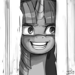 Size: 1000x1000 | Tagged: safe, artist:johnjoseco, twilight sparkle, pony, unicorn, crazy smile, female, grayscale, here's johnny, insanity, insanity face, monochrome, parody, ponified, sketch, the shining