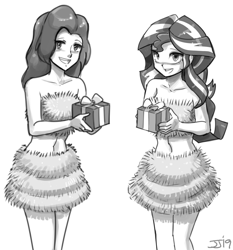 Size: 1000x1074 | Tagged: safe, artist:johnjoseco, sunset shimmer, equestria girls, belly button, christmas, duo, gift wrapped, holiday, liz allen, monochrome, spider-man, tinsel