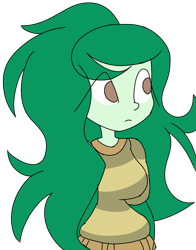 Size: 941x1200 | Tagged: safe, artist:treble clefé, wallflower blush, equestria girls, equestria girls series, forgotten friendship, arm behind back, breasts, busty wallflower blush, clothes, female, jumper, simple background, solo, sweater, transparent background
