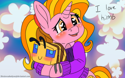 Size: 1920x1200   Tagged: safe, artist:brainiac, luster dawn, bee, insect, unicorn, blushing, crossover, crying, cute, dialogue, female, heart eyes, intentional spelling error, lusterbetes, mare, minecraft, minecraft bee, plushie, solo, text, wingding eyes