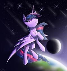 Size: 1800x1900 | Tagged: safe, artist:spirit-fire360, twilight sparkle, alicorn, pony, earth, moon, solo, space, twilight sparkle (alicorn)