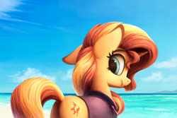 Size: 1200x800   Tagged: safe, artist:lollipony, sunset shimmer, pony, unicorn, beach, bottomless, butt, clothes, cloud, cute, ear down, female, mare, ocean, outdoors, partial nudity, plot, redraw, shimmerbetes, sky, solo