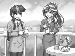 Size: 1300x975 | Tagged: safe, artist:johnjoseco, sunset shimmer, twilight sparkle, human, business suit, clothes, duo, female, grayscale, humanized, monochrome, older, sketch