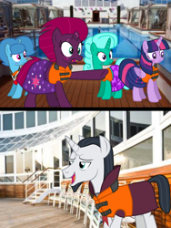 Size: 1080x1440 | Tagged: safe, artist:徐詩珮, chancellor neighsay, fizzlepop berrytwist, glitter drops, spring rain, tempest shadow, twilight sparkle, alicorn, unicorn, series:sprglitemplight diary, series:sprglitemplight life jacket days, series:springshadowdrops diary, series:springshadowdrops life jacket days, alternate universe, base used, bisexual, blushing, broken horn, chancellor neighsay gets all the mares, clothes, cute, equestria girls outfit, female, glitterbetes, glitterlight, glitterneighsay, glittershadow, horn, lesbian, lesbian in front of boys, lifeguard, lifeguard spring rain, lifejacket, male, neighsparkle, polyamory, shipping, sprglitemplight, sprglitemplightneighsay, springbetes, springdrops, springlight, springneighsay, springshadow, springshadowdrops, straight, swimsuit, tempest neighsay, tempestbetes, tempestlight, twilight sparkle (alicorn)