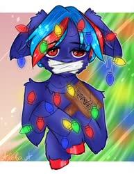 Size: 834x1080 | Tagged: safe, artist:ilona furry, oc, oc only, oc:hellfire, pegasus, semi-anthro, blue fur, bondage, christmas, christmas lights, christmas tree, floppy ears, fur, gag, holiday, implied pegasus, red eyes, sad, solo, tape, tape gag, tree