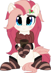 Size: 4630x6562 | Tagged: safe, artist:aureai, oc, oc only, oc:aureai, pegasus, pony, 2020 community collab, derpibooru community collaboration, .svg available, blushing, chest fluff, clothes, cookie, cup, cute, ear fluff, female, fluffy, food, happy, holly, leg fluff, long mane, looking at you, mare, oreo, raised eyebrow, scarf, simple background, sitting, smiling, socks, solo, striped socks, tea, transparent background, vector