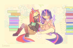 Size: 1500x1000 | Tagged: safe, artist:limonii, moondancer, twilight sparkle, alicorn, human, book, clothes, cute, dancerbetes, duo, eared humanization, flower, horn, horned humanization, humanized, open mouth, reading, sitting, sweater, tailed humanization, turtleneck, twiabetes, twilight sparkle (alicorn), winged humanization, wings