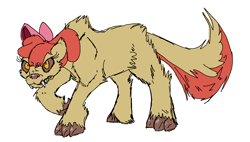 Size: 1602x908 | Tagged: safe, artist:smirk, apple bloom, hengstwolf, werewolf, bow, claws, monster mare, ms paint, simple background, solo, transformation, white background