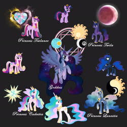 Size: 2449x2449 | Tagged: safe, artist:riredecire, princess cadance, princess celestia, princess luna, twilight sparkle, alicorn, pony, fusion, fusion diagram, hexafusion, multiple eyes, twilight sparkle (alicorn)