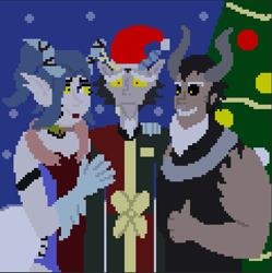 Size: 721x723 | Tagged: safe, artist:ultimatum323, cosmos (character), discord, lord tirek, human, christmas, christmas tree, holiday, humanized, pixel art, snow, tree