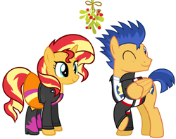 Size: 2244x1768 | Tagged: safe, artist:chainchomp2 edit, artist:zacatron94, edit, flash sentry, sunset shimmer, pony, christmas, equestria girls outfit, female, flashimmer, holiday, male, mistleholly, shipping, straight