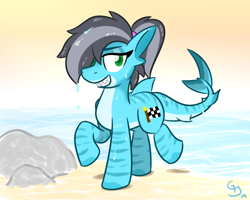 Size: 800x640 | Tagged: safe, artist:glimglam, oc, oc:pole position, original species, shark, shark pony, female, grin, hair over one eye, looking at you, ponytail, raised hoof, sharp teeth, smiling, solo, teeth, wet, wet mane