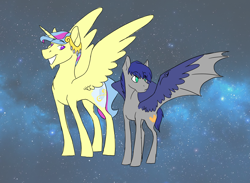 Size: 3000x2200 | Tagged: safe, artist:phobicalbino, oc, oc only, oc:diamond song, oc:night glimmer, alicorn, adopted offspring, cousins, dawn pony, duo, genderfluid, grin, hybrid wings, next generation, offspring, parent:princess cadance, parent:shining armor, parent:twilight sparkle, parents:shiningcadance, smiling, spread wings, starry backdrop, wing claws, wings