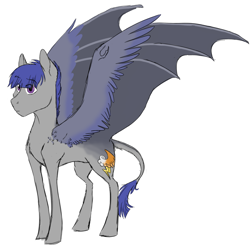 Size: 1991x1970 | Tagged: safe, artist:phobicalbino, oc, oc only, oc:night glimmer, adopted offspring, dawn pony, genderfluid, hybrid wings, next generation, offspring, parent:twilight sparkle, simple background, solo, spread wings, white background, wing claws, wings