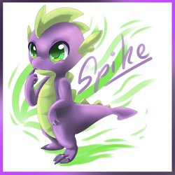 Size: 1000x1000 | Tagged: safe, artist:hylianguardians, spike, dragon, abstract background, colored pupils, cute, male, solo, spikabetes