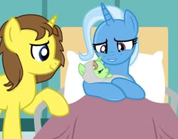 Size: 1024x801 | Tagged: safe, artist:amgiwolf, artist:danniocean, artist:grapefruitface1, trixie, oc, oc:grapefruit face, pony, unicorn, baby, baby pony, base used, bed, birth, canon x oc, grapefruitface x trixie, hospital, hospital bed, offspring, parents:canon x oc