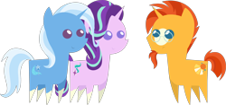 Size: 4270x2004 | Tagged: safe, artist:estories, editor:slayerbvc, starlight glimmer, sunburst, trixie, pony, unicorn, cropped, female, frown, glasses, male, mare, missing accessory, pointy ponies, ponies wearing sunburst's socks, simple background, smiling, sockless sunburst, socks (coat marking), stallion, sunburst's glasses, transparent background, trio, vector
