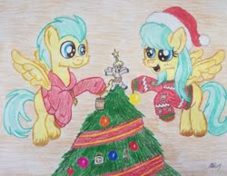 Size: 1280x992 | Tagged: safe, artist:mopar96, barley barrel, derpy hooves, pickle barrel, pegasus, pony, barrel, barrel twins, brother and sister, christmas, christmas tree, clothes, colt, decorating, decoration, female, filly, flying, garland, hat, holiday, male, ornaments, santa hat, shirt, siblings, stars, sweater, sweatshirt, tree, twins
