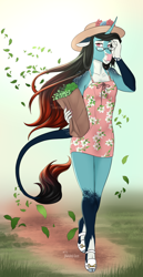 Size: 688x1336 | Tagged: safe, artist:blackblood-queen, oc, oc only, oc:annie belle, classical unicorn, dracony, hybrid, unicorn, anthro, unguligrade anthro, adorasexy, anthro oc, breasts, clothes, cloven hooves, coat markings, curved horn, cute, cute little fangs, delicious flat chest, digital art, dress, fangs, female, freckles, glasses, hat, hoof shoes, horn, legs, leonine tail, minidress, pale belly, paper bag, plants, sexy, shoulder freckles, smiling, socks (coat markings), solo, sundress, unshorn fetlocks