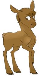 Size: 1025x1959 | Tagged: safe, artist:phobicalbino, oc, oc only, oc:hazelnut, moose, adopted offspring, calf, female, next generation, offspring, parent:big macintosh, parent:fluttershy, parents:fluttermac, rubbing leg, simple background, solo, white background