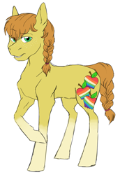 Size: 1355x1973 | Tagged: safe, artist:phobicalbino, oc, oc only, oc:gingergold, earth pony, pony, braid, braided tail, female, mare, next generation, offspring, parent:applejack, parent:oc:rain buck, parents:canon x oc, simple background, solo, white background