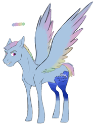 Size: 1480x1992 | Tagged: safe, artist:phobicalbino, oc, oc only, oc:thunder tantrum, pegasus, pony, colored wings, colored wingtips, large cutie mark, male, next generation, offspring, parent:oc:daredevil, parent:rainbow dash, parents:canon x oc, short mane, short tail, simple background, solo, stallion, white background