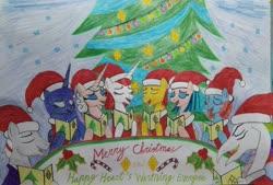 Size: 4073x2754 | Tagged: safe, artist:bsw421, flash magnus, meadowbrook, princess luna, somnambula, oc, oc:aurora wyler, oc:neferneferuaten nefertiti, oc:prim shadow williams, oc:williams wyler, alicorn, dragon, earth pony, pegasus, pony, unicorn, christmas, christmas tree, clothes, egyptian, egyptian pony, eyes closed, happy, hearth's warming, holiday, misspelling, nefertiti, singing, traditional art, tree
