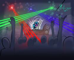 Size: 2012x1652 | Tagged: safe, artist:mafinzy, dj pon-3, vinyl scratch, human, pony, unicorn, audience, concert, crowd, dj booth, female, laser, mare, speakers