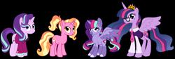 Size: 1280x430 | Tagged: safe, artist:unicorn-mutual, luster dawn, starlight glimmer, twilight sparkle, oc, oc:nova andromeda, alicorn, pony, clothes, female, headmare starlight, lesbian, magical lesbian spawn, offspring, parent:starlight glimmer, parent:twilight sparkle, parents:twistarlight, shipping, simple background, transparent background, twilight sparkle (alicorn), twistarlight
