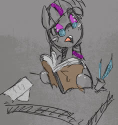Size: 1102x1168 | Tagged: safe, artist:roadboat, twilight sparkle, pony, unicorn, book, desk, female, glasses, mare, quill, sketch, solo, unicorn twilight