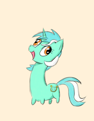 Size: 800x1024 | Tagged: safe, artist:doodlesuovick, lyra heartstrings, pony, unicorn, female, long neck, mare, necc, short legs, simple background, solo, wall eyed