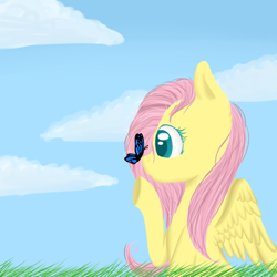 Size: 1024x1024 | Tagged: safe, artist:applejack-lover-fan, fluttershy, butterfly, pegasus, pony, bust, butterfly on nose, female, grass, insect on nose, looking at something, mare, outdoors, profile, raised hoof, sky, solo, spread wings, stray strand, wings