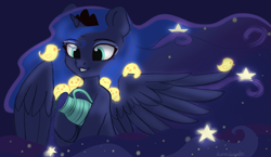 Size: 2429x1410 | Tagged: safe, artist:auroracursed, princess luna, alicorn, bird, pony, crown, cute, ethereal mane, female, jewelry, jug, lunabetes, mare, night, pitcher, pouring, regalia, sketch, smiley face, solo, starry mane, stars