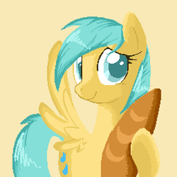 Size: 256x256   Tagged: safe, artist:applejack-lover-fan, sunshower raindrops, pegasus, pony, baguette, bread, female, food, hoof hold, mare, pixel art, simple background, smiling, solo, spread wings, standing, wings, yellow background