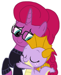 Size: 764x943 | Tagged: safe, artist:徐詩珮, oc, oc:amber, oc:betty pop, dragon, unicorn, base used, cute, female, glasses, hug, magical lesbian spawn, mare, next generation, offspring, parent:garble, parent:glitter drops, parent:prominence, parent:tempest shadow, parents:garbinence, parents:glittershadow, simple background, transparent background, vector