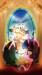 Size: 2160x3840 | Tagged: safe, artist:zvn, rainbow dash, twilight sparkle, pony, clothes, cup, female, hearth's warming, lesbian, scarf, scenery, shipping, snow, town, twidash, window, winter