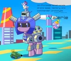 Size: 1280x1095   Tagged: safe, artist:trackheadtherobopony, oc, oc:valerie, parasprite, pony, robot, robot pony, futuristic, glimmerina, tank (vehicle), toy
