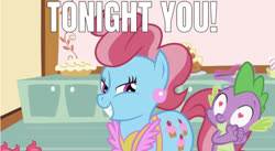 Size: 1225x672 | Tagged: artist needed, safe, edit, edited screencap, editor:undeadponysoldier, screencap, cup cake, spike, dragon, earth pony, pony, lesson zero, bedroom eyes, caption, female, heart eyes, image macro, in love, infidelity, male, mare, meme, shipping, smiling, spatula, spikecake, straight, text, tonight you, wingding eyes