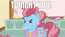 Size: 635x363 | Tagged: safe, edit, edited screencap, editor:undeadponysoldier, screencap, cup cake, earth pony, pony, lesson zero, bedroom eyes, bronybait, caption, ear piercing, earring, female, image macro, jewelry, mare, meme, piercing, smiling, solo, spatula, talking to viewer, text, tonight you
