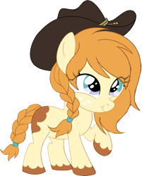 Size: 1121x1392   Tagged: safe, artist:owlity, oc, oc only, oc:rudy chimes, earth pony, pony, 2020 community collab, derpibooru community collaboration, braid, braided tail, cowgirl, female, filly, hat, raised hoof, simple background, smiling, solo, transparent background