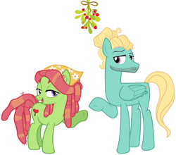 Size: 2092x1839 | Tagged: safe, tree hugger, zephyr breeze, christmas, female, flirting, hearth's warming, holiday, male, mistleholly, shipping, straight, zephyrhugger