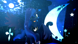 Size: 1920x1080 | Tagged: safe, artist:feuerrader-nmm, princess luna, pony, 3d, female, moon, solo, tongue out
