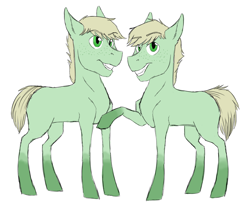 Size: 2000x1667 | Tagged: safe, artist:phobicalbino, oc, oc only, oc:dust storm, oc:hay bale, earth pony, pony, blank flank, colt, duo, foal, male, next generation, offspring, parent:applejack, parent:oc:rain buck, parents:canon x oc, raised hoof, simple background, twins, white background