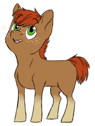 Size: 1409x1867 | Tagged: safe, artist:phobicalbino, oc, oc only, oc:jonagold jam, earth pony, pony, blank flank, colt, foal, looking up, male, next generation, offspring, parent:applejack, parent:oc:rain buck, parents:canon x oc, simple background, socks (coat marking), solo, white background