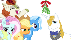 Size: 1920x1080 | Tagged: safe, edit, applejack, autumn blaze, kerfuffle, prince blueblood, trixie, bluejack, bluetrix, female, male, mistletoe, prince blueblood gets all the mares, shipping, simple background, straight, white background